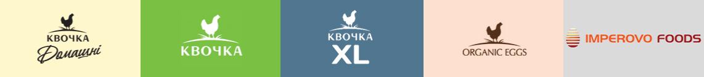 Наші бренди: Квочка, Квочка Домашні, Квочка XL, Organic Eggs, Imperovo